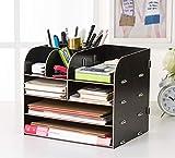 Organisateur de bureau en bois Rangement de bureau Bac à courrier avec Porte-stylo Multifonctionnel Étagère de rangement Système de rangement pour livres Journaux et magazines