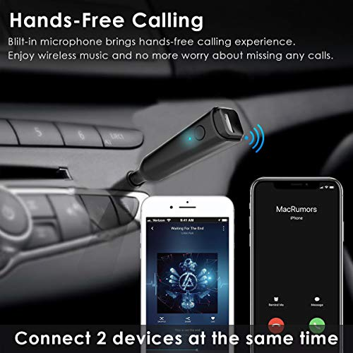 4 Music Playing Esky Bluetooth FM Transmitter for Car 6 EQ Mode with QC3.0 Fast Charging Wireless Radio Adapter Hands-Free Kit AUX Input//Output