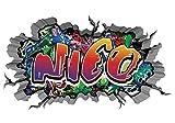 3D Wandtattoo Graffiti Wand Aufkleber Name NICO Wanddurchbruch sticker selbstklebend Wandbild Wandsticker Jungenddeko Kinderzimmer 11U050, Wandbild Größe F:ca. 97cmx57cm