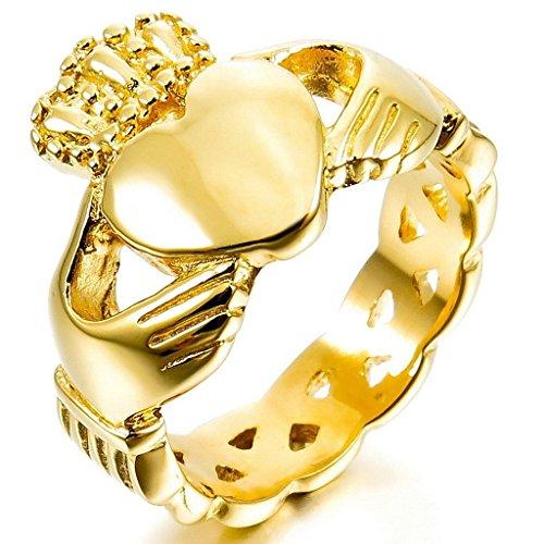 MoAndy Men Stainless Steel Rings Gold Irish Celtic Knot Irish Claddagh Friendship Love Heart Crown