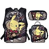 SpArt Anime Pikachu Pokemon - Mochila escolar para niños y niñas, diseño de anime,...