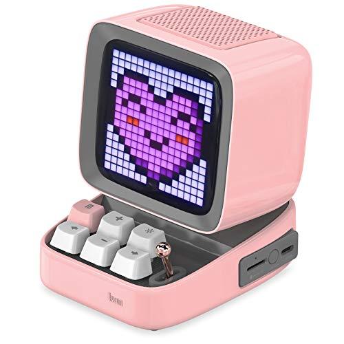 Divoom Ditoo Enceinte Bluetooth avec Affichage LEDs, Reveil, et 10 Watts Audio pour Chambre, DIY, Anniversaire (Rose)
