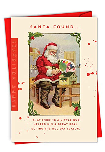 Santa's Little Bud - Adult Funny Merry Christmas Card with Envelope (4.63 x 6.75 Inch) - Humorous Smoking, Weed Xmas Season's Greetings Note Card - Retro High Santa, Happy Holidays C6724XSG