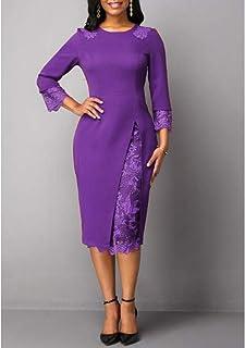 YYLZA Lace Patchwork Slim Pencil Women Dress Elegant O Neck Long Sleeves Commuter Dresses