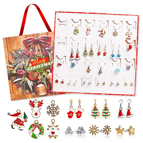 USATDD Jewelry Advent Calendar for Girls 2020 Christmas 24 Days Countdown with DIY Charming Jewelry Earrings&Necklace Christmas Ornaments Holiday Surprise Gift for Daughter, Niece, Kids,Children,Teen