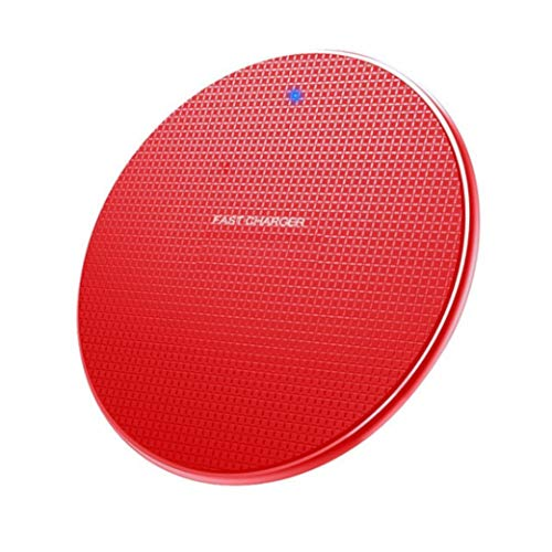 Aluminum Fast Wireless Charger 10W/7.5W/5W Universal for All Qi-Certified Devices.Compatible with All iPhone's 8 to 12, Airpods and Airbuds, Samsung's S8 to S20, Note 8 to 10. (Red)