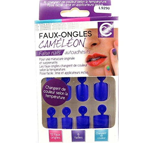 Les Trésors De Lily [L9290] - Planche de faux-ongles 'Caméléon' bleu (température)