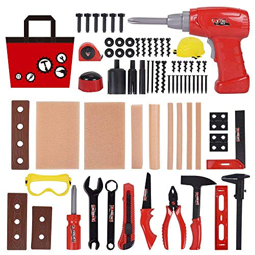 UHBGT Kids Toy Tool Set , 69 pcs Plastic Toys Tool Screwdriver Real Hand Tools Accessories for Home DIY, Decorating and Woodworking Educational Toy and Best Gift Idea (Batteries are not Included)