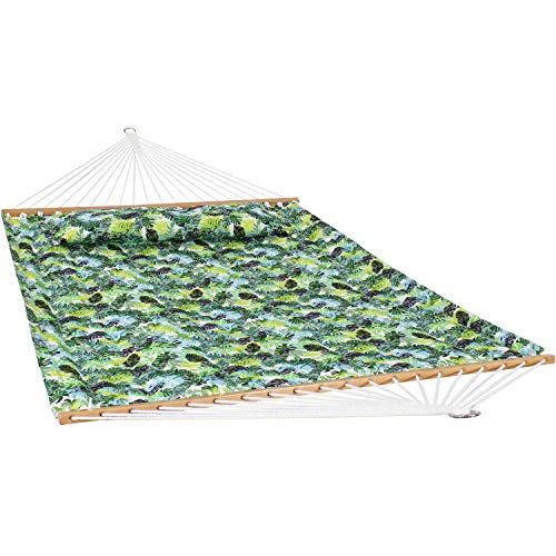 Sunnydaze 2-Person Quilted Printed Fabric Spreader Bar Hammock and Pillow - Large Modern Cloth Hammock with Metal S Hooks and Hanging Chains - Heavy Duty 450-Pound Weight Capacity - Tropical Greenery