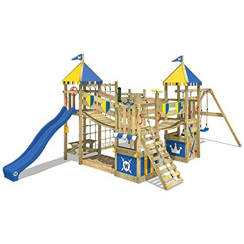 WICKEY Spielturm Smart King Spielplatz Holz Kletterturm mit Schaukel, Rutsche und Kletterwand, blaue Rutsche + blau-gelbe Plane