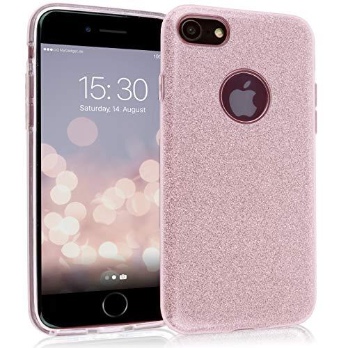 MyGadget Cover Silicone Glitter per Apple iPhone 7/8 - Case Brillantini TPU Ultra Leggero - Custodia Resistente Antiurto e AntiGraffio - Strass Rosa
