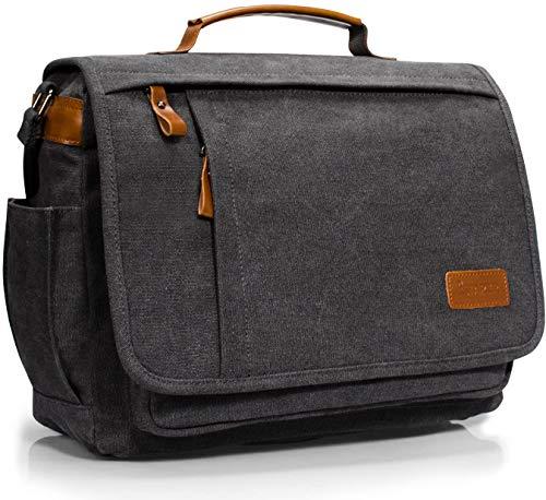 Estarer 13.3-14 inch Mens Laptop Messenger Bag,Work Satchel Shoulder Bag for MacBook Pro/MacBook Air/Surface Pro/Chromebook,Grey Computer Briefcase