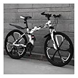 YCHBOS Bicicletas de Montaña Doble Suspensión 24/26 Pulgadas Hombre, 27 Velocidad Plegable Bici Montaña, Bicicleta MTB con Asiento Ajustable, Frenos de Doble DiscoA-26 Inch