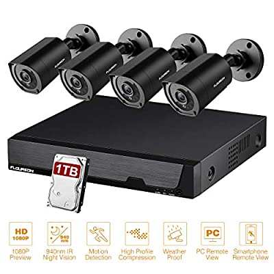 FLOUREON 8CH Security Camera System with 1TB Hard Drive, 4Pcs 2.0MP HD 1080P CCTV Cameras 3000TVL Outdoor Bullet, Motion Alert, Day&Night Vision, Remote Access Surveillance Camera for Home Office
