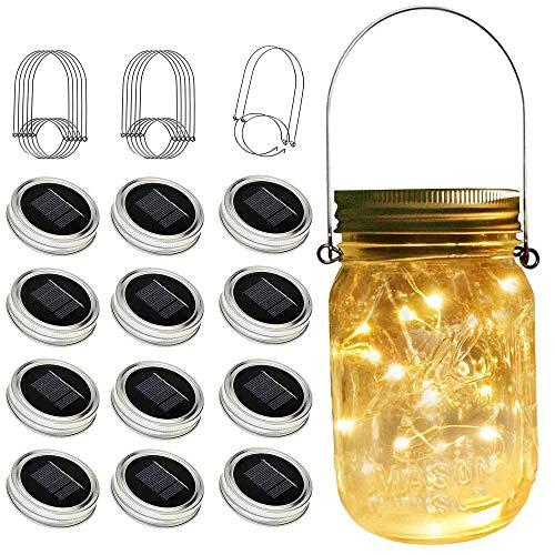 ZNYCYE Solar Mason Jar Lights 12 Pack 30 Led String Fairy Star Firefly Jar Lids Lights (Jars Not Included) Best for Mason Jar Outdoor Decor for Patio Garden Yard and Lawn(Warm White)