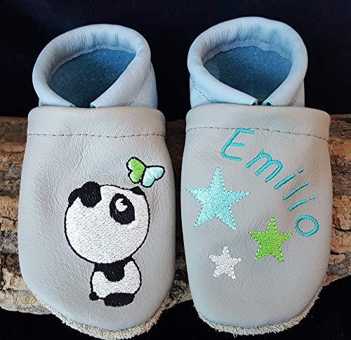 Krabbelschuhe aus Leder mit Namen Name Pandabär Sterne Bär Baby Kindergarten personalisiert Jungen hellgrau/hellblau