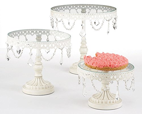 Jeweled Wedding and Birthday Glass Cupcake Stand Pedestal Platter - Set of 3
