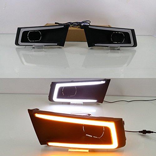 July King LED Daytime Running Light avec couvercle de lampe de brouillard pour Vitara Brezza 2015-2019, 6000K LED Light Guide DRL avec signaux de signalisation jaune Light