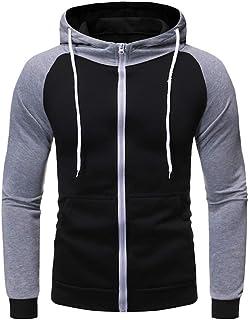 HDGTSA Men Sweatshirt Long Sleeve Pullover Patchwork Outwear Tops Blouse