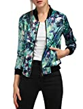Allegra K Women's Long Sleeve Stand Collar Zip Up Floral Bomber Jacket Green M