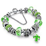 Beloved Braccialetto da donna con cristalli - bracciale compatibile pandora - beads e charms - bead placcate argento, in vetro e cristalli - con catena decorativa - charm pendente (Verde)
