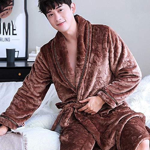 ZIXIYAWEI Bademantel Herren Winter Herren Bademantel Langarm Coral Fleece Pyjama Für Herren Bademantel Herren Kimono Morgenmäntel Nachtwäsche-C_XXL