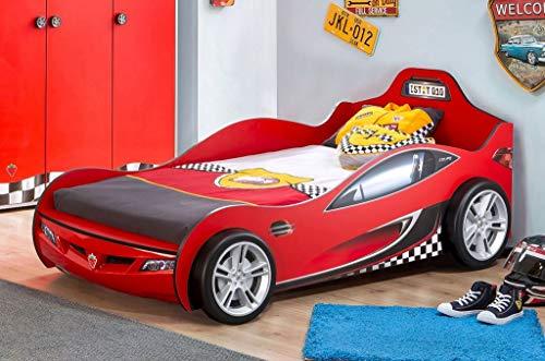 Froschkönig24 Cilek RACECUP Autobett Kinderbett Rennfahrerbett Rot, Matratze:ohne