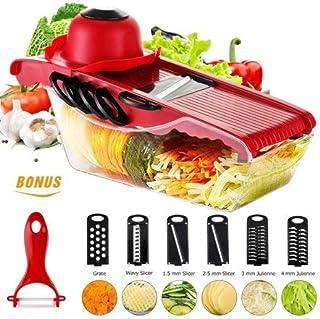Rehomy Mandoline de cuisine pour légumes et pommes de terre avec 5 lames