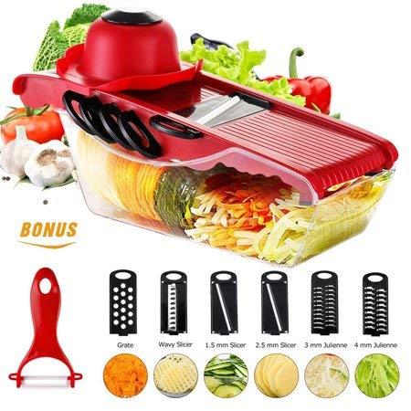 OhhGo Cortador de mandolina de cocina cortador de verduras rallador de patatas y contenedor de alimentos con 5 cuchillas