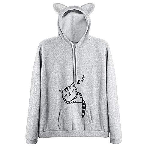 Pullover Sweatshirts for Women Kawaii Cat hoodie Kawayii Hoodies for Girls 10-12 (Grey,XS)