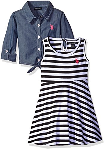 U.S. Polo Assn. Girls' Toddler Striped Knit Skater Dress with Chambray Shirt-Jack, Black, 3T
