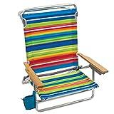 Rio Gear Beach Classic 5 Position Lay Flat Folding Beach Chair - Tropical Fusion Bright Stripe, 8.5'