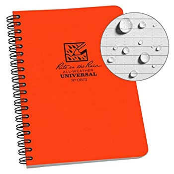 Rite In The Rain Weatherproof Side Spiral Notebook 4.625  x 7  Orange Cover Universal Pattern  No OR73