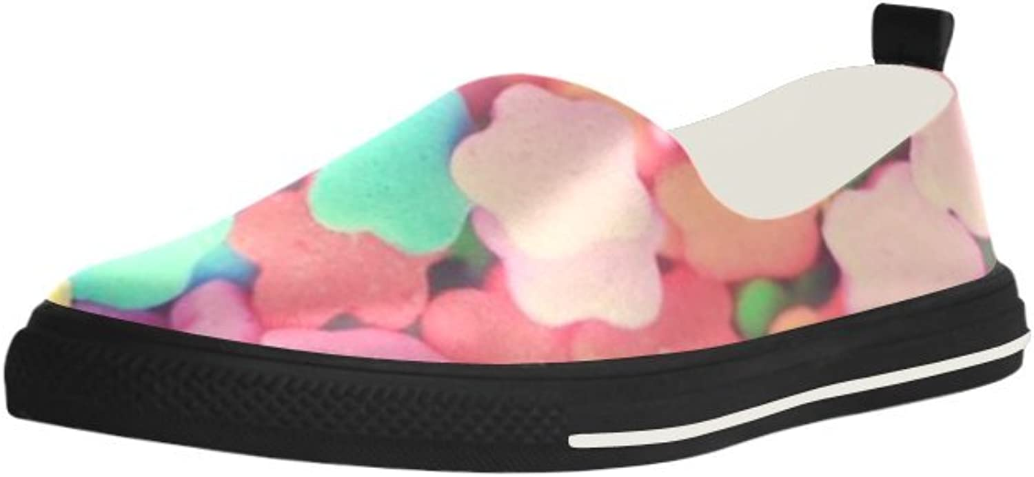 HUANGDAISY colorful Sprinkles Flower Slip-on Microfiber Rubber Out-Sole EVA Insole shoes for Womens