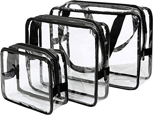 3-in-1Kulturbeutel Transparent, Make-up-Taschen und Etuis Tasche aus durchsichtigem Kunststoff PVC Durchsichtige Flugzeug Beutel, Kosmetiktasche für Koffer