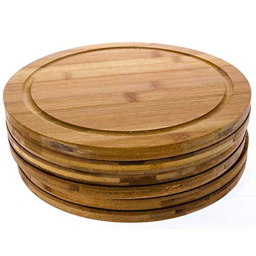 SIDCO Schneidebrett Bambus 6 x Fleischteller Holzteller rund Brotzeitbrett groß Ø 25 cm