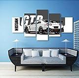 5 paneles de pintura en lienzo, impresión en HD, arte cómico, moderno Nissan Skyline Gtr, imágenes de coches, cartel de arte de pared junto a la cama, 150x80cm con marco