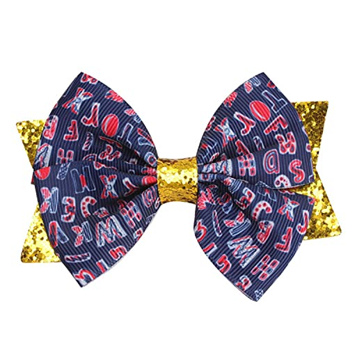 2021 Double Layer Glitter Bow Hair Clips for Girls Kids Print Back To School Sweet Hair Accessories Fashion Dance Hair Barrettes