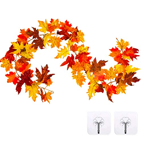 Whaline Artificial Autumn Fall Maple Leaves Garland Hanging Plant for Home Garden Wall Doorway Backdrop Fireplace Decoration, Thanksgiving Wedding Party Decor (Deep)