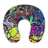 Almohada de viaje en forma de U de moda Cojín de apoyo para el descanso del cuello Almohada de descanso de viaje cómoda y transpirable para dormir en el avión / el coche / la oficina (Psychedelic Mult