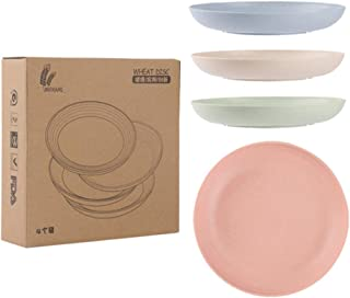 4pcs Eco-Friendly Solid Color Wheat Straw Plate Dish Snack Food Plate Dessert Dinner Fruit Round Plate Tray Tableware Set