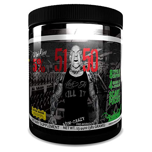 Rich Piana 5% Nutrition 5150 High Stimulant Pre-Workout Powder Supplement, 6 Caffeine Sources for Energy, Extreme Focus, N-Acetyl L-Tyrosine, Beta-Alanine, 30 Servings (Int'l Version) (Green Apple)