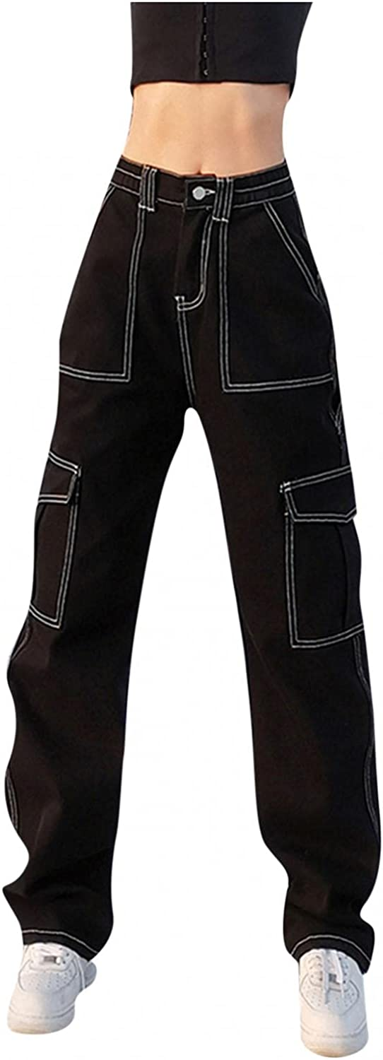 Fashion Y2K Jeans for Women High Waisted Jeans Retro Wide Leg Cargo Trousers with Big Pockets Casual Baggy Straight Pant