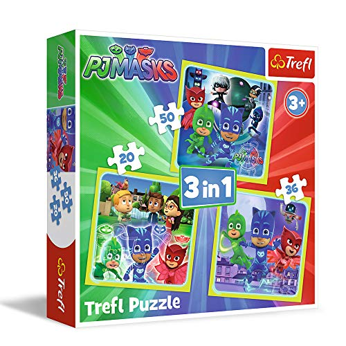 Trefl 3-in-1-Puzzle, Modell Pj Masks 20-36-50 Teile, 34840, Mehrfarbig