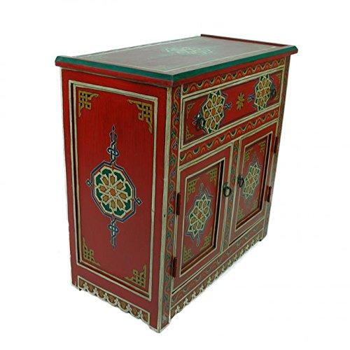 Casa Moro Marokkanische handbemalte Kommode Andalus 84x42x82 cm (B/T/H) aus Naturholz | Kunsthandwerk aus Marrakesch | Orientalisches Sideboard für einfach schöner wohnen | MO4007
