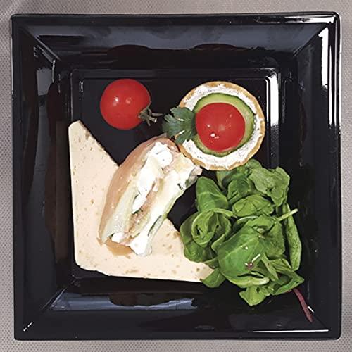 Piatto in plastica nero | Set di 36 piatti neri lucidi | Lavabile a freddo | Piatto quadrato 21 x 21 cm | Plastica dura |
