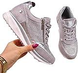 WODETIAN Sandalias de Vestir Zapatillas Deportivas de Mujer Moda Cremallera Cordones Zapatillas de Running Fitness Sneakers Casual Zapatos para Caminar Liviano Sneakers para Correr,Plata,37
