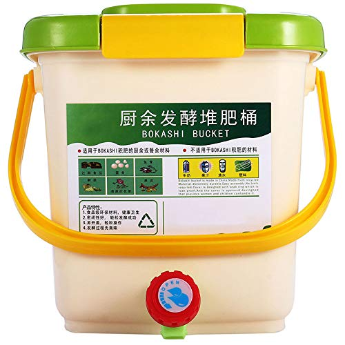 Dasorende Papelera de reciclaje de compost, de 12 l, de polipropileno, orgánica, hecha en casa, cubo de basura para cocina, jardín, residuos de alimentos