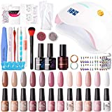 Gellen 12 Colors Gel Nail Polish Starter Kit with 72W UV/LED Nail Lamp - Top Base Coat, Upgraded Essential Home Manicure Tools Anti-UV Gloves Popular Nail Art Designs, Classic Nudes