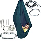 Indoor Sensory Swing for Kids with Mounting Hardware, Double-Layer Hanging Clothes Hammock Chair Snuggle Cuddle Lycra Pod Therapy Swings for Autism Child with Special Needs(Dark Green)